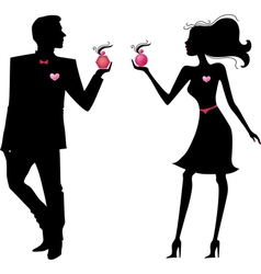 Silhouette of man and women vector