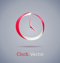 Abstract red clock symbol on gray background vector