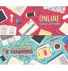 Flat concept online education vector