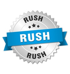 Rush 3d silver badge with blue ribbon vector