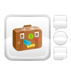 Sea beach and travel icon with suitcase and other vector
