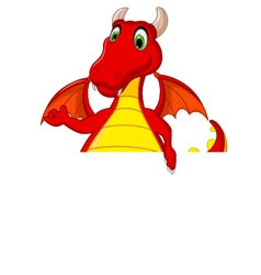 Red dragon cartoon posing with blank sign vector