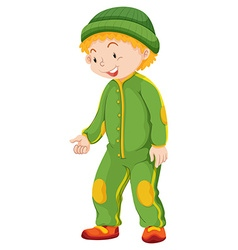Boy in green jumpsuit and hat vector