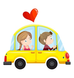 A yellow car with a loving couple vector image vector image