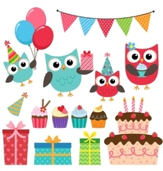 Birthday party elements with owls vector image vector image