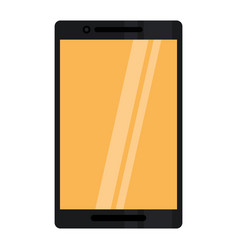 black smartphone yellow screen mobile digital vector image vector image