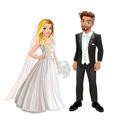 Bride and groom in the wedding day vector
