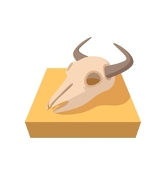 Buffalo skull cartoon icon vector