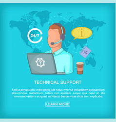 Call center concept tech support cartoon style vector