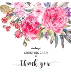 Classical vintage floral greeting card natural vector