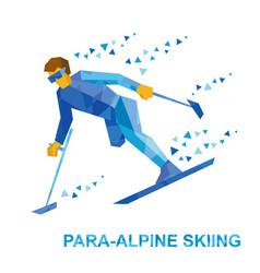 Disabled skier running downhill vector