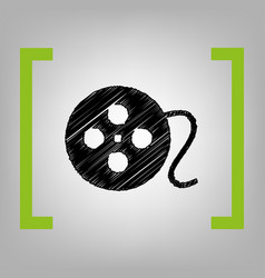 Film circular sign black scribble icon in vector