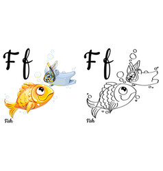 Fish alphabet letter f coloring page vector