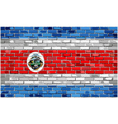 Flag of costa rica on a brick wall - vector