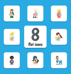 Flat icon mam set of parent mam perambulator and vector