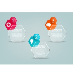 Glass infographic template with steps and icons vector image