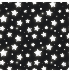 Glossy silver stars in the dark seamless pattern vector