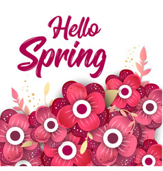 Hello spring concept banner with flowers vector