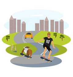 hipster man and his dog vector image