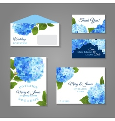Hydrangea Invitations Set vector image