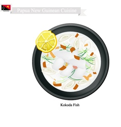 Kokoda or papua new guinean raw fish in coconut vector