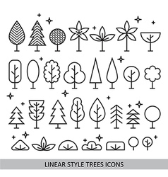 Linear style trees icons vector