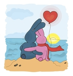 Love couple bunnies vector image