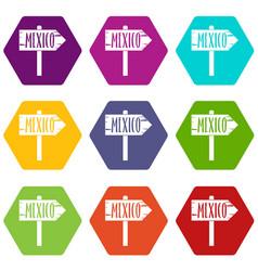 Mexico wooden direction arrow sign icon set color vector