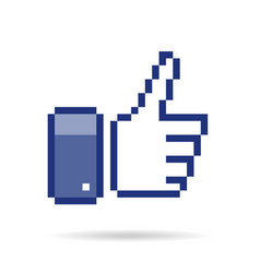 pixel thumb up 8 bit icon vector image