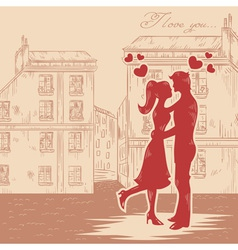 Romantic Valentine retro postcard vector image