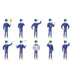 set of mechanic characters vector image vector image