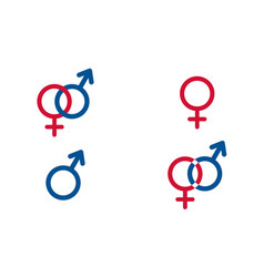 Set traditional female and male symbols venus vector