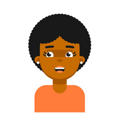 Surprise facial expression of black girl avatar vector