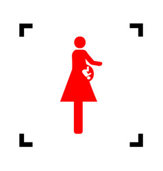 Women and baby sign red icon inside black vector