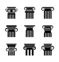 Ancient columns icons vector