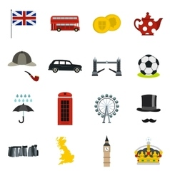 Great britain icons set flat style vector