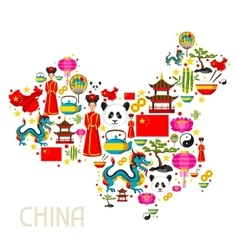 China map design chinese symbols and objects vector