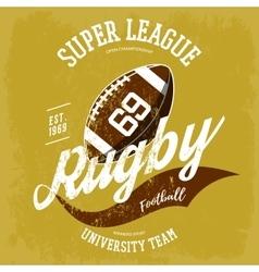 Rugby ball logo for t-shirt branding design vector image