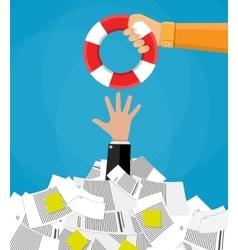 businessman in pile of documents getting lifebuoy vector image