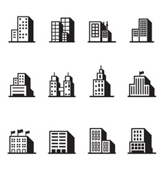 Building silhouette icons symbol set vector