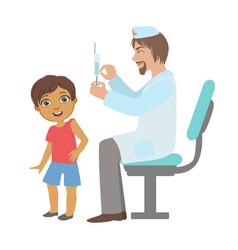 Pediatrician doing a vaccination to little boy vector