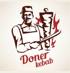 Doner kebab outlined symbol in vintage style vector