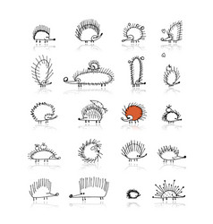 Hedgehog collection sketch for your design vector