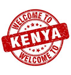 Welcome to kenya red round vintage stamp vector
