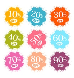 Colorful Discount Labels Stains Splashes vector image