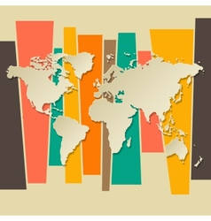 World map paper 3d retro background vector