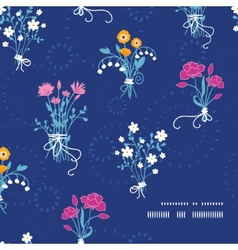 Fresh flower bouquets frame corner pattern vector