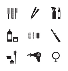 Hairdressing icons set 9 vector