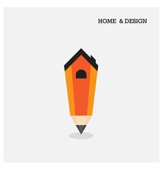 Home icon and pencil symbol in flat design style vector image