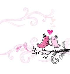 Romantic kissing birds vector image